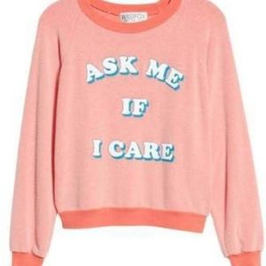 "Wildfox ""Ask Me If I Care"" Crewneck Sweater Size S"